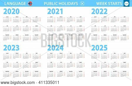 Calendar In Norwegian Language For Year 2020, 2021, 2022, 2023, 2024, 2025. Week Starts From Monday.
