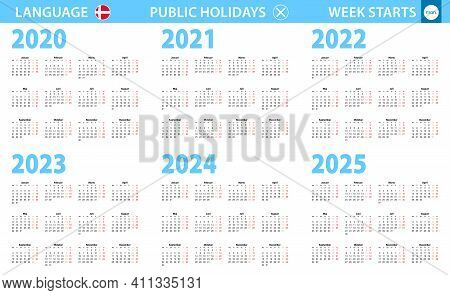 Calendar In Danish Language For Year 2020, 2021, 2022, 2023, 2024, 2025. Week Starts From Monday. Ve