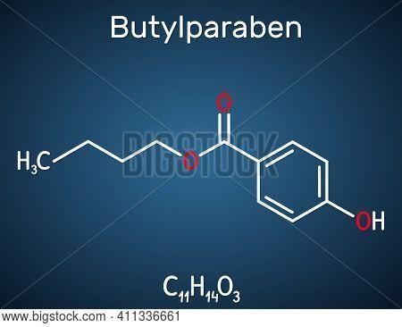 Butylparaben, Butyl P-hydroxybenzoate, Butyl Paraben Molecule. It Is Paraben, Antimicrobial Preserva