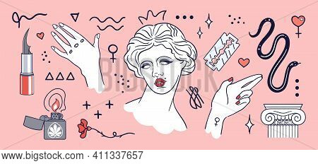 Modern Ancient Aesthetic - Set Of Hand Drawn Stickers. Classic Statues In Modern Style, Ancient Marb