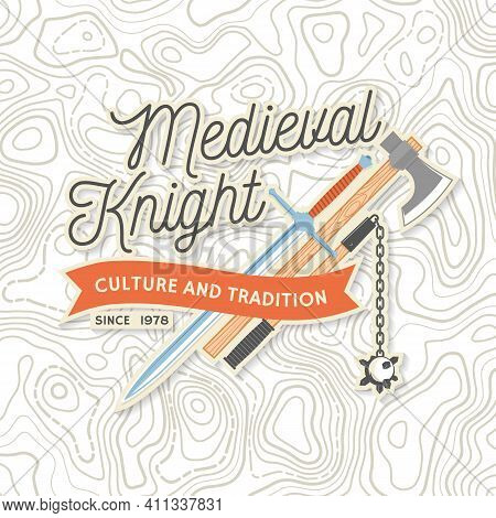 Medieval Knight Historical Club Badge, T-shirt Design. Vector. Concept For Shirt, Print, Stamp, Over