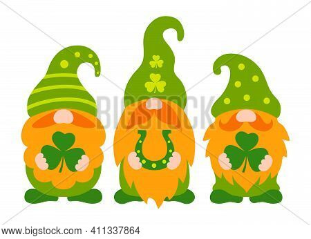 St Patrick Gnome Vector. Cute Irish Gnomes With Clover Leaf Cartoon Style. Greeting St Patricks Day
