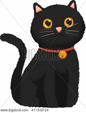Black Cat Sitting With Red Collar And Golden Bell