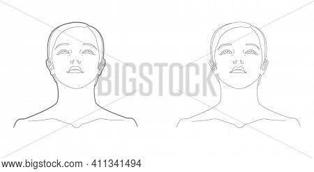 Bottom View Of Woman's Face And Neck Template. Medicine And Cosmetology Scheme. Graphic Line Drawing