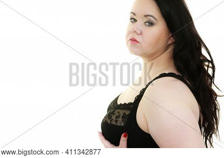 Woman In Black Bra Showing Her Breast Chest.