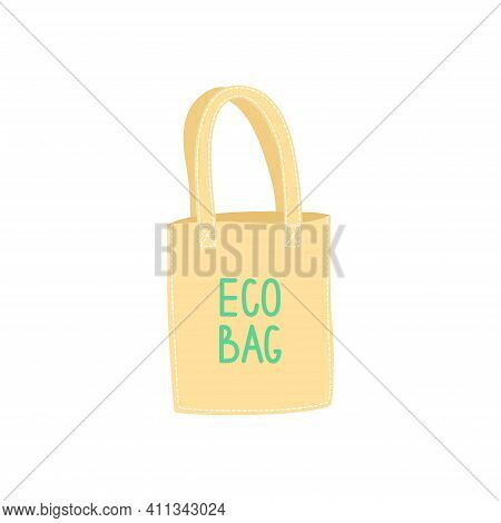 Hand Drawn Eco Bag Insulated On White, Plastic Pollution Sollution Concept. Vector Illustration Use