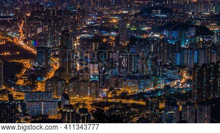 City View After The Sunset On Kowloon Peak, Hong Kong