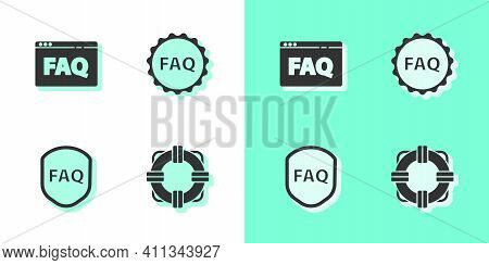 Set Lifebuoy, Browser Faq, Shield With Text And Label Icon. Vector