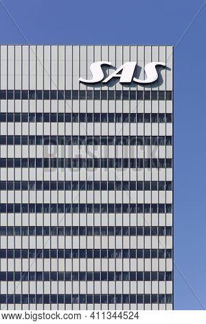 Copenhagen, Denmark - April 2, 2019: Sas Building In Copenhagen. Scandinavian Airlines, Usually Know