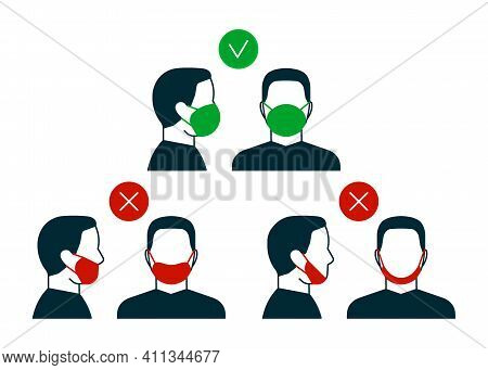 Right And Wrong Way To Wear Face Mask, Anfas And Profile Man Icon. Correct And Mistakes Use Wearing