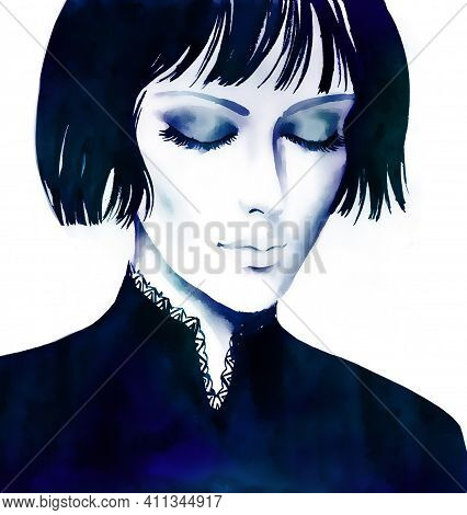 Beautiful Young Women With Short Bob Haircut Hair, Hand Paint Watercolor Portrait  Illustration.