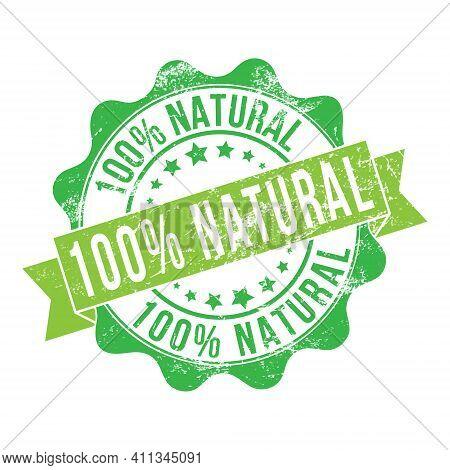 100% Natural. Stamp Impression With The Inscription. Old Worn Vintage Stamp. Stock Vector Illustrati