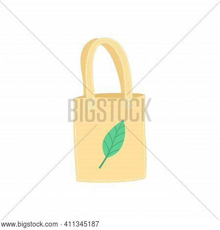 Hand Drawn Eco Bag With Green Leaf Isolated On White, Use Eco Friendly Bag Or Textile Bag, Dont Use