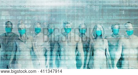 Group of People Wearing Surgical Masks Standing Together Prevention and Safety Procedures Concept 3d Render