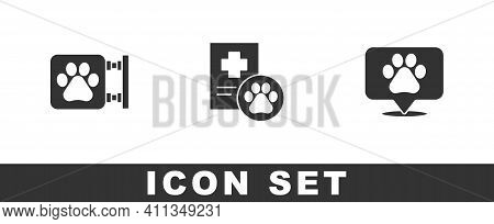 Set Veterinary Clinic, Clinical Record Pet And Location Veterinary Icon. Vector