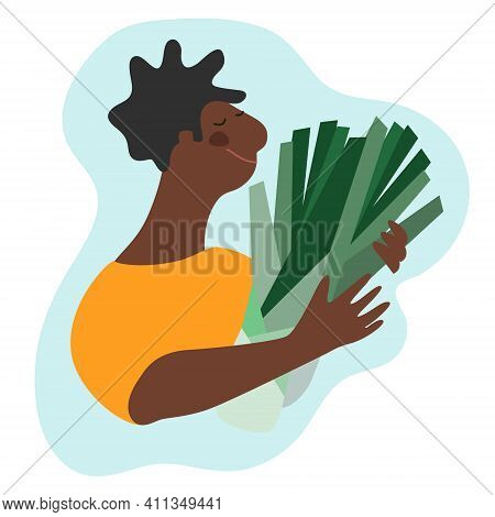Funny Happy Man Holding Leek. Humorous Vector Illustration In Trendy Flat Style. Harvesting, Fresh V