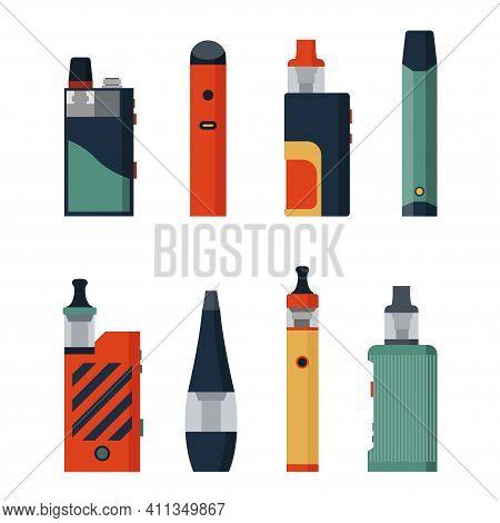 Electronic Cigarettes And Vape Set. E-cigarette For Vaping. Different Design Vape Pens And Pod Mods.