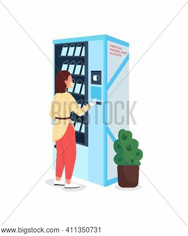 Buying Plastic Masks Flat Color Vector Faceless Character. Vending Machine For Medical Equipment. Pa