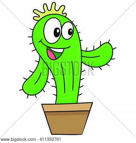 Cactus Plant With Laughing Face Doodle Kawaii. Doodle Icon Image. Cartoon Caharacter Cute Doodle Dra