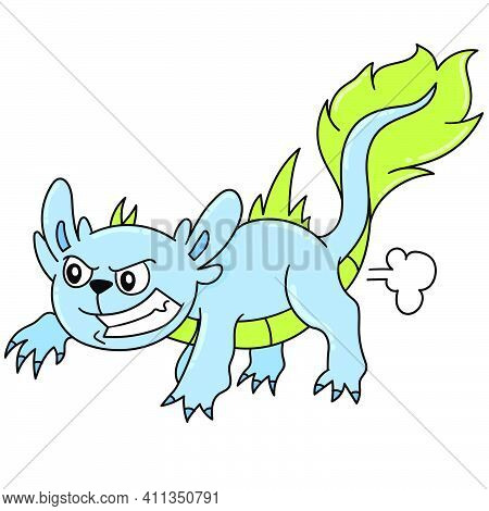 Cute Cute Monster Lizard Doodle Kawaii. Doodle Icon Image. Cartoon Caharacter Cute Doodle Draw