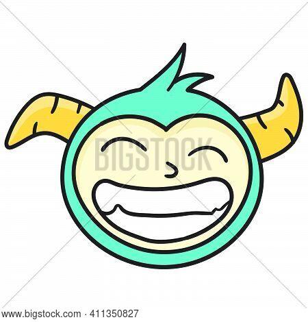 Head Emoticon Smirking Doodle Kawaii. Doodle Icon Image. Cartoon Caharacter Cute Doodle Draw