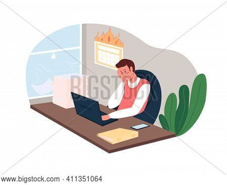 Workload 2d Vector Web Banner, Poster. Stress From Deadlines. Overworked Corporate Employee Flat Cha