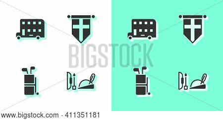Set Robin Hood Hat, Double Decker Bus, Golf Bag With Clubs And England Flag On Pennant Icon. Vector