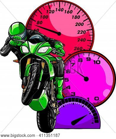 Colored Motorbike With Rider Vector. Road Motorcycle Racing