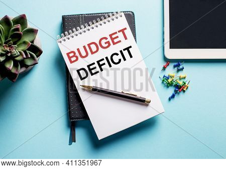 On A Light Blue Background, There Is A Potted Plant, A Tablet And A Weekly With The Text Budget Defi