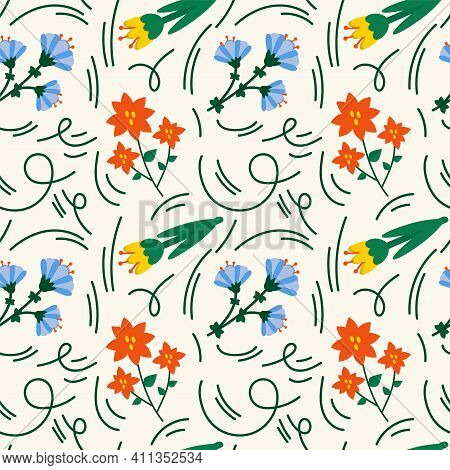Gardening Background. Colorful Flowers Are Plant Elements For The Garden. A Beautiful Pattern For Ga