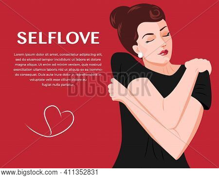 Cute Girl Holding Hugging Herself. Self Care, Body Positive Concept. Happy Woman Hugging Herself. Po