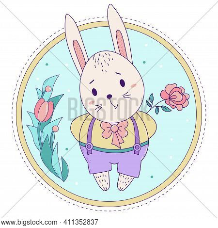 Cute Rabbit. Easter Bunny Boy In Pants On Suspenders With A Rose On A Decorative Floral Background.