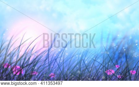 Bright Sunrise In The Field. Beautiful Fairy Landscape Background With Fog, Sunrise And Wildflowers