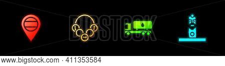 Set Location Russia, Russian Bagels, Tanker Truck And Slavic Pagan Idol Icon. Vector
