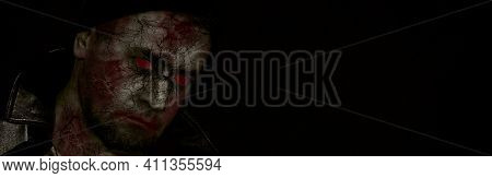 Horror Scene Of A Man With Bloody Face. Banner Of Zombie Close-up.. Toned Image. Horror Concept
