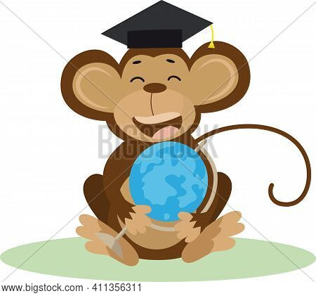 Vector Illustration Of A Cute Cartoon Monkey With Bachelor Cap And Globe For Your Design