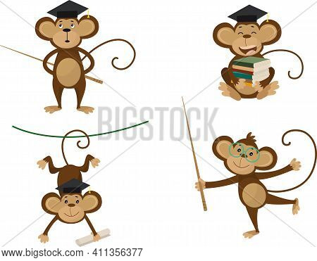 Collection Of Monkey In Different Poses With Bachelor Cap, Books And Glasses Vector Image