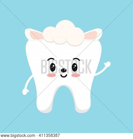 Easter Cute Tooth In Sheep Costume Dental Icon Isolated On Background. Dentist White Teeth Easter Ch