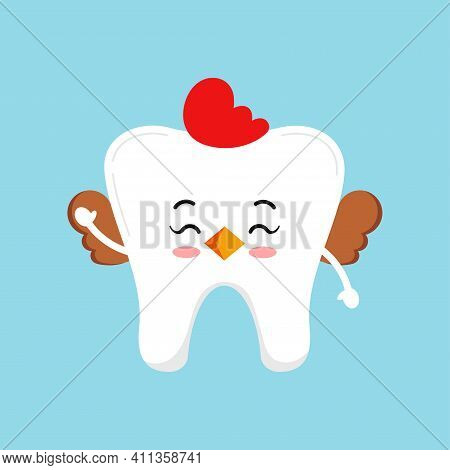Easter Cute Tooth In Hen Costume Dental Icon Isolated On Background. Dentist White Teeth Easter Char