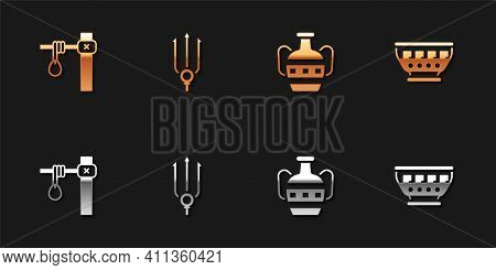 Set Gallows, Neptune Trident, Ancient Amphorae And Greek Ancient Bowl Icon. Vector