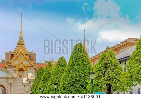 Green Trees and the Beautiful Castle under Blue Sky