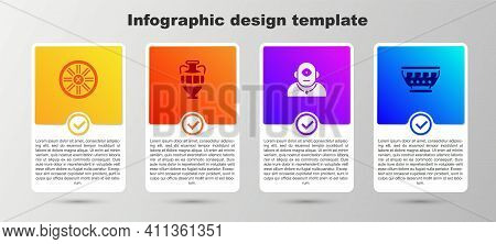 Set Old Wooden Wheel, Ancient Amphorae, Cyclops And Greek Ancient Bowl. Business Infographic Templat