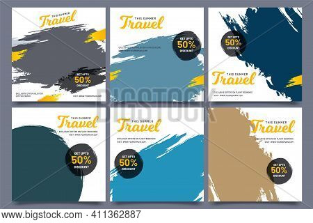Social Media Post Set Of World Travel, Tour Package Collection Template