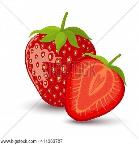 Strawberry Sweet Fruit Flat Style, Strawberry Icon Isolated On White Background, Vector Illustration