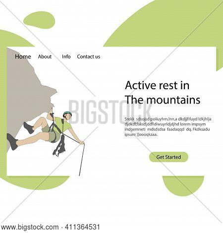 Active Rest In Mountains Landing Page. Illustration Mountaineering School, Rock Climbing, Extreme Sp