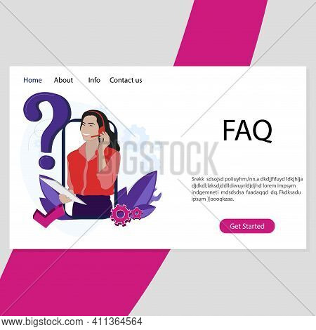 Faq Service Landing Page. Info Helpdesk, Assistant And Support, Application Hotline, Immediately Sol