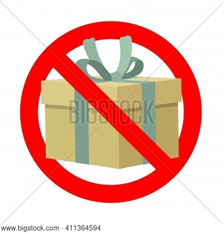 Banned Gift, Symbol Present Prohibit Icon. Vector Prohibit Surprise, No Gift Package, Prohibition Gi