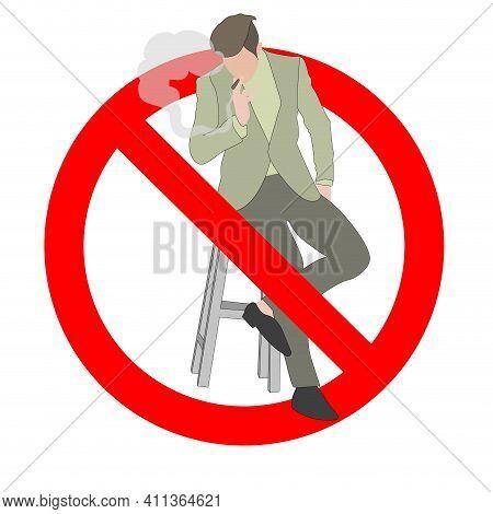 No Smoking Area, Ban Smoker, Prohibition Nicotine, Healthy Icon, Not Cigar Smoke. Vector Male Smoke