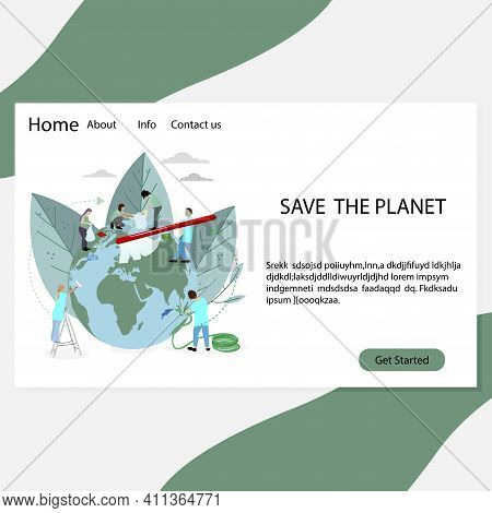 Save Planet Landing Page, People Volunteers Clean And Wash. Vector Volunteering World, Global Care,