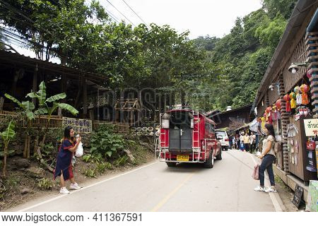 Thai People And Foreign Travelers Walking Travel Visit Baan Mae Kampong Village Valley Hill With Tra
